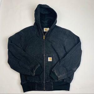VTG 90s Carhartt Black Distressed Hooded Jacket- L